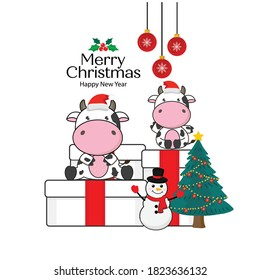 Merry Christmas card with Cute cow wearing Santa Claus hat