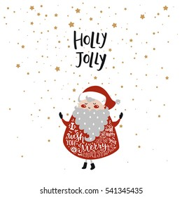 Merry christmas card with cute santa claus, stars and hand drawn letters isolated on white background. Happy new year illustration for design greeting cards, prints, posters. Holly Jolly
