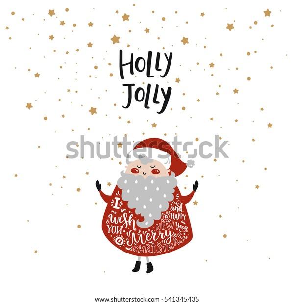 白い背景にかわいいサンタと星と手書きの文字を持つメリークリスマスカード 挨拶状 プリント ポスターをデザインする新年のイラスト ホリー ジョリー のベクター画像素材 ロイヤリティフリー