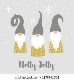 Merry christmas card with cute scandinavian gnomes, snowflakes and text Holly Jolly. Tomte gnome illustration. Happy New Year vector design template.