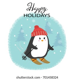 Merry Christmas card with cute skiing penguin. Happy New Year vector illustration for greeting cards design, print, posters.