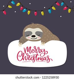 Merry Christmas card with cute sloth. Hello Winter print. Happy New Year card