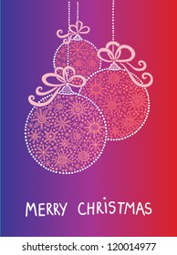 Merry Christmas card with decorative ball