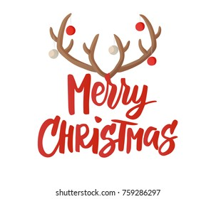 Merry Christmas card design with hand drawn text. Reindeer horns with Christmas balls decoration. Cartoon illustration. Also great for New Year and Christmas posters, gift tags and labels.