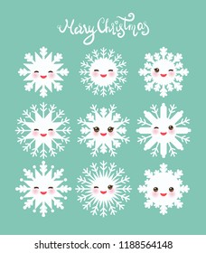 Merry Christmas card design Kawaii snowflake collection white funny face with eyes and pink cheeks on mint blue background. Vector