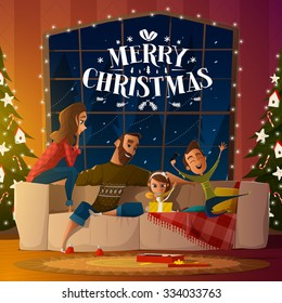 Merry Christmas card with family