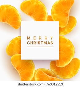 Merry Christmas card. Fruit white background. Slices of orange and mandarin are scattered.