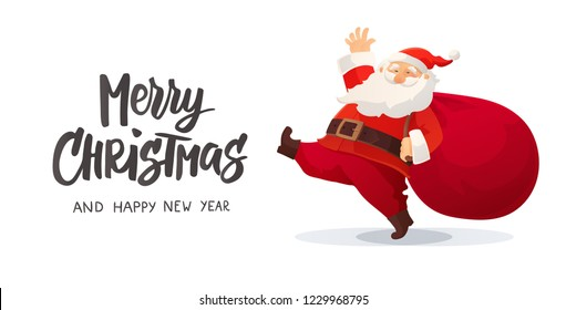 Merry Christmas card. Funny cartoon Santa Claus. Red bag with presents. Winter holidays cute retro character isolated on white. Red Santa hat. For Christmas and New Year posters, gift tags and banners