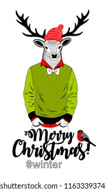 Merry Christmas card with funny deer animal in modern hipster style. Vector illustration for winter holidays.