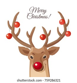 Merry Christmas card. Funny red nose reindeer with Christmas balls on his horns. Cartoon flat illustration isolated on white. Great for Christmas and New Year posters, banners, gift tags and labels.
