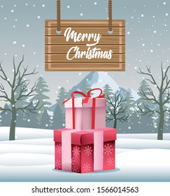 merry christmas card with gifts in snowscape vector illustration design