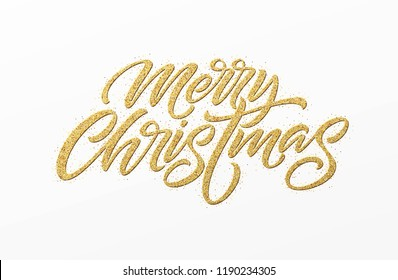 Merry christmas card with golden glitter lettering. Hand drawn text, calligraphy for your design. Vector illustration EPS10