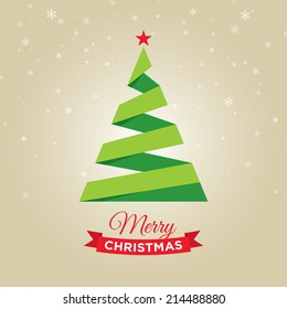 Merry christmas card, with graphic christmas tree, gold background
