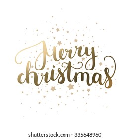 Merry Christmas card with hand drawn lettering and stars on white background. Gold card