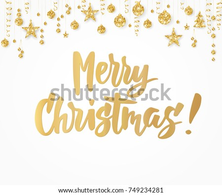 Merry christmas card hand drawn lettering stock vector royalty free merry christmas card hand drawn lettering holiday greetings quote on white background golden m4hsunfo