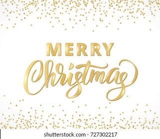 Merry Christmas card with hand written lettering. Golden glitter border, falling confetti on white. Great for invitations, banners, party posters.