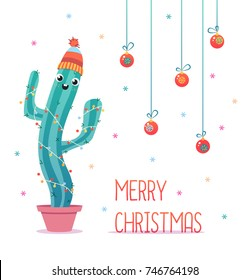 Merry Christmas card. Happy cactus in a winter hat. Cute vector greeting card.