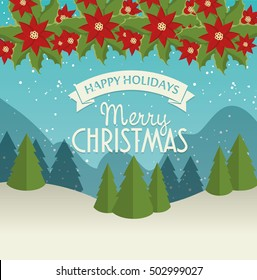 merry christmas card and happy new year landscape garland chirstmas flower
