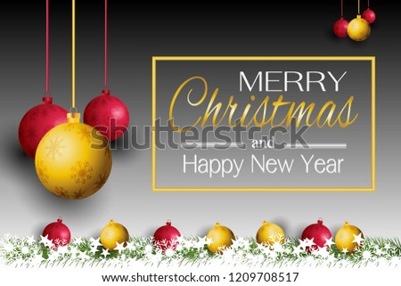 merry christmas card and happy new year 2019 with a lamp on the grass background