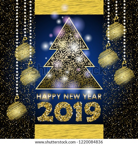 merry christmas card happy new year 2019 drawing christmas balls vector illustration