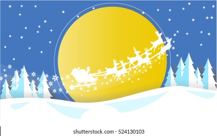 Merry Christmas Card, Illustration of a funny cartoon santa claus character driving the christmas sleigh with his reindeer running on the winter snow