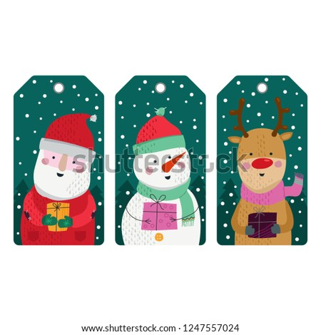 merry christmas card illustration label vector with snowman santa claus deer gift box new year snow