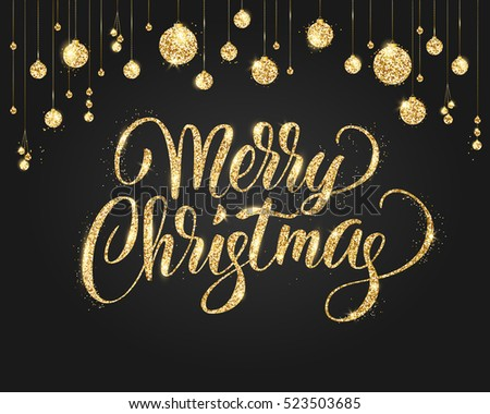 merry christmas card with lettering and glitter decoration black and gold background with hanging christmas