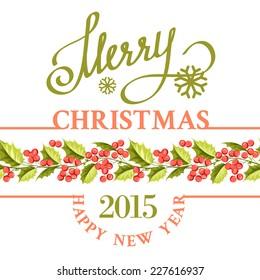 Merry christmas card with line border of misletoe wreath. Vector illustration.