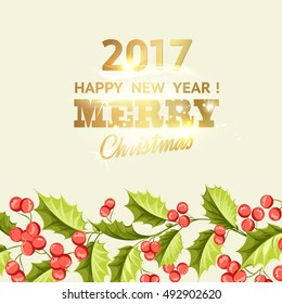 Merry christmas card with line border of misletoe wreath. Happy new year 2017. Christmas flower frame. Vector illustration.