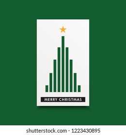 Merry christmas card with minimal style tree with green rectangle shapes and a star piece. Holiday theme gift card.