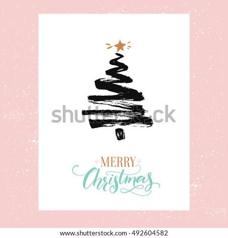 merry christmas card minimalism design simple stock vector royalty