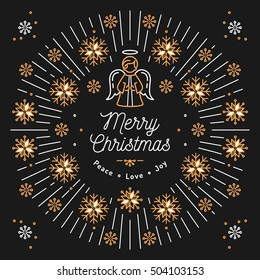 Merry Christmas card, Mono thin line art Golden snowflakes and sun bursts or bursting rays. Christmas angel. Minimal design, Corporate business style, Christmas religious poster. Vector isolated