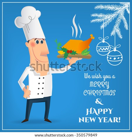 Merry Christmas Card Nice Cartoon Chef Stock Vector (Royalty Free ...