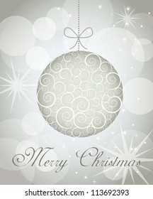 merry christmas card over gray background. vector illustration