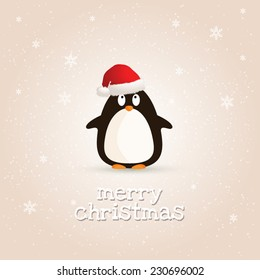 merry christmas card with penguin