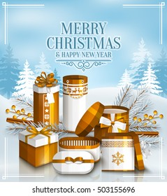 Merry Christmas card with pile of white and golden wrapped gift boxes, fir branches and yellow berries. Snowy landscape. Scandinavian pattern. Vector.