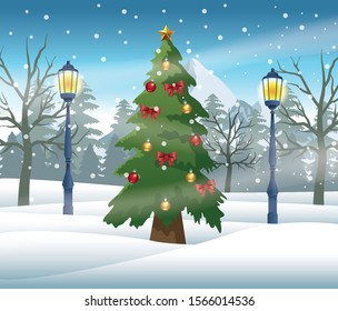 merry christmas card with pine tree in snowscape vector illustration design