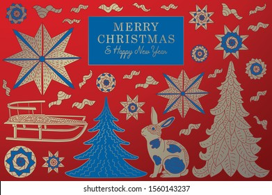 Merry Christmas Card with Rectangle Frame Banner and Modern Typography. Red Background with stars, winter trees and rabbit.