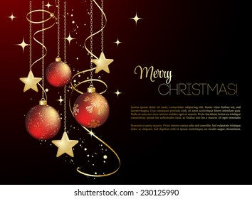 Merry Christmas card with red bauble . Vector illustration.