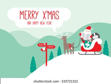 Merry Christmas card with reindeer and Santa Claus on a snowy mountain. Santa is looking at a map and sign with mountains and trees in the background. The waiting reindeer is eating a candy cane.