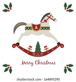 Merry Christmas card with rocking horse, symbol of a New Year. Vector illustration isolated on white background.