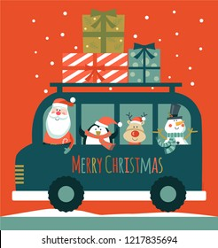 Merry Christmas card with Santa, deer, penguin and snowman in a car. Vector illustration.