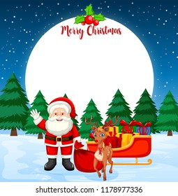 Merry christmas card with santa and reindeer illustration