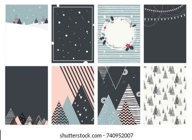 Merry Christmas card set, illustrations and icons, lettering design collection
