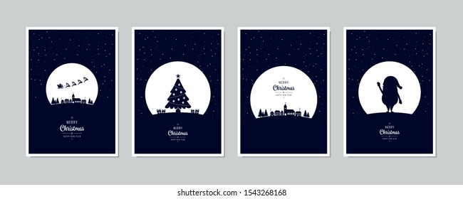 Merry Christmas card set santa sleight night tree greeting text lettering blue snowy night background vector.