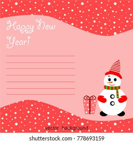 Merry Christmas. Christmas card with snowman, gift, holiday, vector winter background.