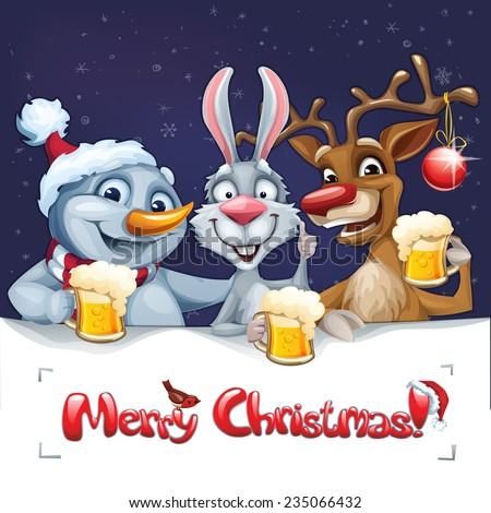 Merry Christmas Card Snowman Reindeer Rabbit Stock Vector Royalty