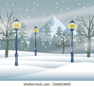 merry christmas card with snowscape scene with lamps vector illustration design