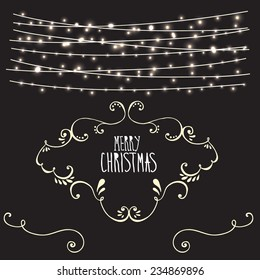 Merry Christmas card with string lights - eps 10