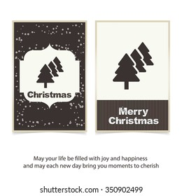 Merry Christmas card, stylized Christmas tree on decorative background. Design elements for holiday cards.  Xmas decorated tree icon. vector Greeting Card illustration